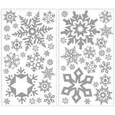 Seasonal Glitter Snowflakes Peel and Stick Wall Decal
