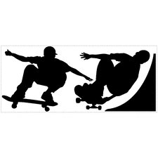 Peel and Stick 3 Piece Chalkboard Skaters Wall Decal Set
