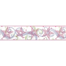 Star Glitter Border in White / Pink / Purple