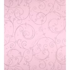 Perfect Princess Scroll Wallpaper in Pink with Glitter