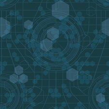 Tron Legacy Hexagon Wallpaper in Dark Teal
