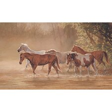 Misty River Chair Rail Prepasted Wall Mural