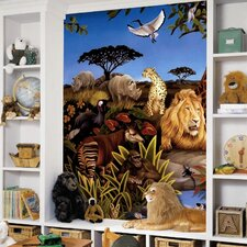 Jungle Chair Rail Prepasted Wall Mural