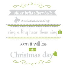 Peel & Stick Silver Bells Quote Wall Decal