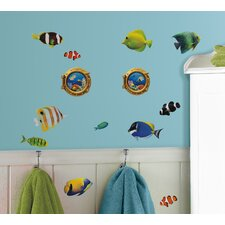 Peel & Stick Fish Wall Decals with Lenticular Port Hole Wall Decal