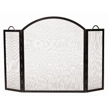 3 Panel Arched Top Twisted Rope Wrought Iron Fireplace Screen