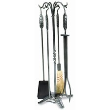 4 Piece Large Leaf Wrought Iron Fireplace Tool Set