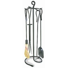 <strong>Minuteman International</strong> 4 Piece Shepherd's Hook Wrought Iron Fireplace Tool Set