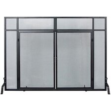 Windowpane 4 Panel Wrought Iron Fireplace Screens with Doors