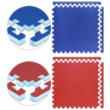 "Jumbo Reversible SoftFloors 2' x 2' x 1"" Set in Red / Royal Blue"