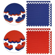 "Jumbo Reversible SoftFloors 2' x 2' x 7 / 8"" Set in Red / Royal Blue"