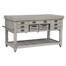 Linley Kitchen Island with Wood Top