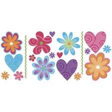Snap Kids Flirty Flowers Self Stick Room Appliqué