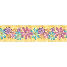 <strong>Blue Mountain Wallcoverings</strong> Snap Kids Flirty Flowers Self Stick Wallpaper Border