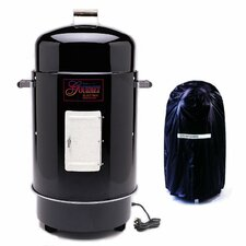 Gourmet Chrome Electric Smoker & Grill with Vinyl Cover