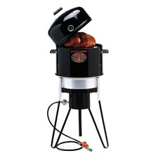 All-In-One Gas and Charcoal Single Burner Smoker and Grill