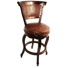 Colonial Spanish Heritage Round Counter Stool with Swivel Back