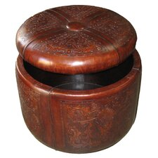 <strong>New World Trading</strong> Colonial Bouquet Leather Storage Ottoman