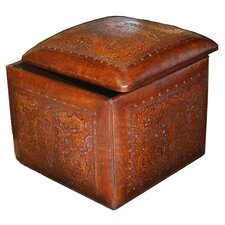 Colonial Leather Large Box Cube Ottoman with Storage