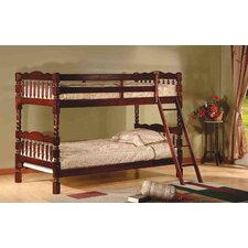 Twin Over Twin Bunk Bed with Ladder and Safety Rail