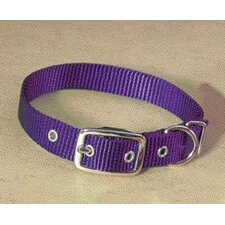 Single Thick Nylon Dog Collar in Hot Purple