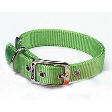 Double Thick Nylon Deluxe Dog Collar in Lime