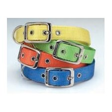 Double Thick Nylon Deluxe Dog Collar in Ocean