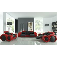 Modern Franco 3 Piece Leather Sofa Set