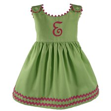 Garden Princess Pique Dress in Green with Hot Pink