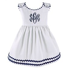 Garden Princess Pique Dress in White with Navy Trim