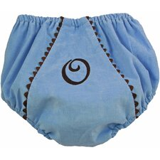 Bon Bon Corduroy Diaper Cover in Blue with Brown Trim