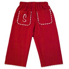 Bon Bon Corduroy Pant with Rick Rack Pocket in Red with White Trim