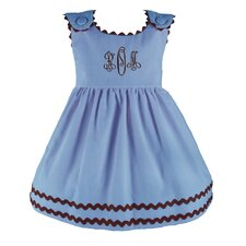 Bon Bon Corduroy Dress in Blue with Brown Trim