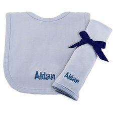 Cotton Knit Bib and Burp Pad Set in Blue