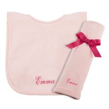 Cotton Knit Bib and Burp Pad Set in Pink