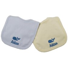 Cotton Knit Bib Set with Whale Motif in Blue and Yellow (Set of 2)