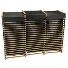 Folding Slatted Oak Laundry Sorter