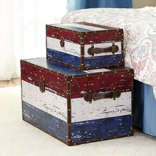 2 Piece Red, White & Blue Stripe Design Trunk Set (Jumbo & Medium)