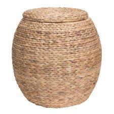 Large Round Water Hyacinth Wicker Storage Basket with Lid