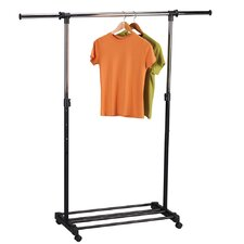 Storage and Organization Extendable Garment Rack in Chrome/Black