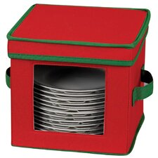 Storage and Organization Holiday Dessert Plate/Bowl Chest with Green Trim in Red