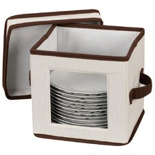 <strong>Household Essentials</strong> Storage and Organization Salad Plate/Bowl Chest Canvas with Trim