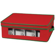 Storage and Organization Holiday Cup Chest with Green Trim in Red
