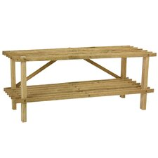 <strong>Household Essentials</strong> 2 Tier Oak Shoe Rack