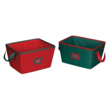 Holiday Storage Bins (Set of 2) in Red and Green