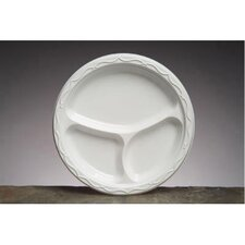 "<strong>Genpak</strong> 10.25"" Aristocrat Plastic Round Plates with 3 Compartments in White"