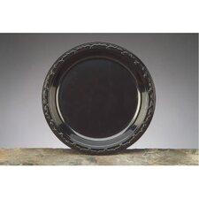 "10.25"" Silhouette Plastic Round Plates in Black"