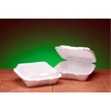 Foam Hinged Carryout Container with 1-Compartment in White
