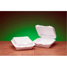 Snap-It Foam Hinged Carryout Medium Container in White