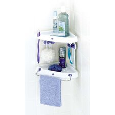 Corner Tub and Shower Caddy in White